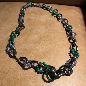 Nine West loop rhinestone mix blue green necklace